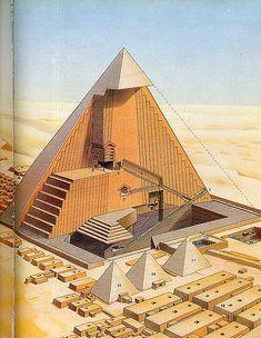 """Sección de la pirámide de Keops y distribución interior, IV Dinastía, Giza. La entrada se encuentra en la cara norte, por encima del nivel del suelo. Se distinguen 3 fases constructivas en las que se realizaron varios corredores y cámaras funerarias como la llamada """"Cámara de la Reina"""". En la última fase se realiza la """"Gran Galería"""" y al final de esta se encuentra un estrecho pasadizo que lleva a una antecámara y la """"Cámara del Rey""""."""