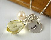 BRIDESMAID GIFT IDEAS  5 Personalized Initial Necklaces, Sterling Silver, Freshwater Pearls, Wedding
