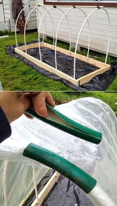 How to make a raised garden bed cover project hoop house the homestead survival homesteading gardening covers system plastic Backyard Greenhouse, Small Greenhouse, Greenhouse Plans, Homemade Greenhouse, Pallet Greenhouse, Aquaponics Greenhouse, Portable Greenhouse, Greenhouse Wedding, Raised Garden Planters