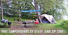 Free Campgrounds By State (and Zip Code!) - Who doesn't like camping? I think everyone I know likes to camp at least once a year. I actually go camping more like 3 or 4 times a year. The cost can add up so I went hunting for some free campsites near me and came up with a database that shows you free campsites you can search by zip code.