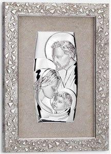 Srebrny obraz Święta Rodzina za szkłem, zdobiony ramą o ciekawej fakturze w kolorze srebrnym, stanowi doskonały prezent dla młodej pary z okazji ślubu. #komunia #podziekowania_dla_rodzicow #rocznica