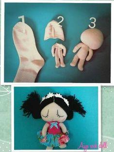 sock doll More sockdoll sockenpuppe sock socken craftforkids bastelnmitkindern sockanimal sockentier Sock Crafts, Fabric Crafts, Sewing Crafts, Sewing Projects, Sock Toys, Sock Animals, Clay Animals, Sewing Dolls, Doll Tutorial