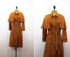 70's leather cape coat