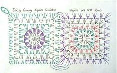 뜨개질사랑 & 솜씨자랑 | BAND Crochet Squares, Crochet Granny, Crochet Motif, Crochet Patterns, Crochet Chart, Granny Squares, Chocolate House, Granny Square Tutorial, Knitting Stitches