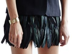 Bottoms. Feathered shorts