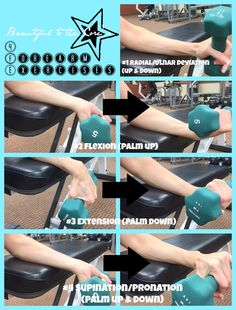 Trying to end or ease the pain in my hands & wrist...when i over do it outside, i pay for it the next day, extreme waking you up pain!!   Forearm & Wrist Exercises! Great for any elbow tendinitis, in addition to other stretches, modalities, and manual techniques!