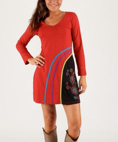 Loving this Red Floral V-Neck Dress on #zulily! #zulilyfinds
