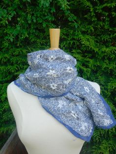 nuno felted scarf blue scarf summer scarf lightweight scarf felted scarf reversible scarf blue white felted scarf nuno felted flowered scarf by hipposinhats on Etsy
