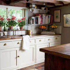 Simple cabinets. Wood countertops.