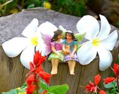 Miniature fairy garden sisters Alice & May gifts for mom.mothers'day gift
