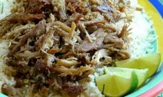 Slow Cooker Kalua Pork with Chive-Lime Rice: Hawaiian alaea salt, Boston butt or shoulder, liquid smoke, lime Pork Loin Recipes Oven, Meatloaf Recipes, Crockpot Recipes, Cooking Recipes, Crockpot Dishes, Lunch Recipes, Drink Recipes, Cooking Tips, Chicken Recipes