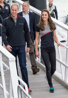 Catherine, Duchess of Cambridge and Prince William, Duke of Cambridge leave the Ben Ainslie Racing team base to go and watch the racing on The Solent on July 24, 2016 in Portsmouth, England.