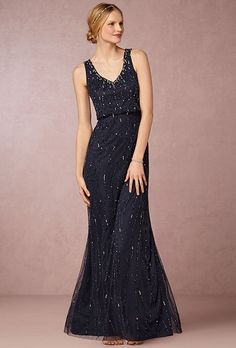 """Brides.com: . """"Brooklyn"""" navy gown with matte sequins and beading, $280, BHLDN"""