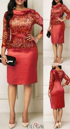 Red Three Quarter Sleeve Satin Sparkle Sheath Dress Source by idea classy African Attire, African Fashion Dresses, African Dress, Elegant Dresses, Casual Dresses, Short Dresses, Formal Dresses, I Dress, Sheath Dress
