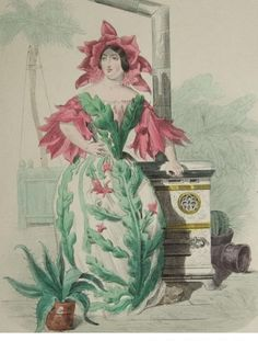 Grandville Victorian Engraving 'Cactus' from Les Fleurs Animees..1852. from nouveautonow on Ruby Lane