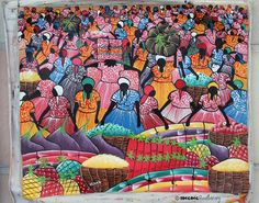 Traditional market scene painting amazing detail.