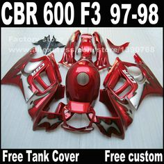 ==> [Free Shipping] Buy Best Custom free Motorcycle parts for HONDA CBR 600 F3 fairings 1997 1998 CBR600 F3 97 98 all red body repair fairing kit T9 Online with LOWEST Price | 32314321890