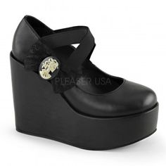 Skull Cameo Wedge Heel Gothic Pump - New at ShoeOodles.com Price: $66.95  Vegan leather pump in matte or patent finish have criss-cross elastic band sraps and a lace bow accented with a skull lady cameo at out side. Wedge platform heel is 5 inches high (platform about 1 1/2 inches).  All man-made materials with padded insole and non-skid sole.  #gothic #fashion #steampunk