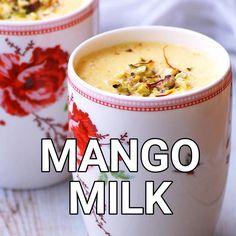 Mango Recipes Video, Shake Recipes, Summer Recipes, Mango Drinks, Cold Drinks, Milk Tea Recipes, Lassi Recipes, Indian Food Recipes, Food Videos