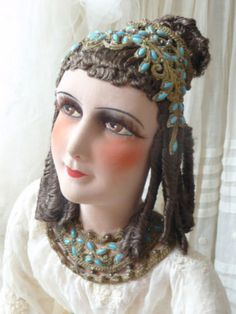 ANTIQUE-FRENCH-BOUDOIR-DOLL-CLEOPATRA-EGYPTIAN-QUEEN-DOLL-RARE-C-1920