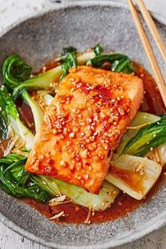 Teriyaki Salmon With Sesame Pak Choi   BBC Good Food