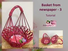 Tutorial of nice and simple basket from newspaper or paper. To make this basket you need 40 tube paper from one color and 10 from the other color or u can ma...