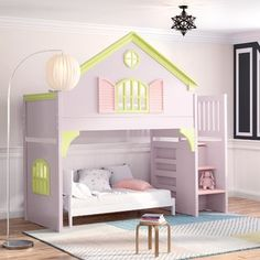 Brayden Studio Gautreau Twin Bunk Bed over Full XL Sofa Bed, Table and Trundle Bunk Beds With Drawers, Bunk Bed With Trundle, Bunk Beds With Stairs, Twin Bunk Beds, Kids Bunk Beds, Twin Futon, Cool Toddler Beds, Girl Room, Girls Bedroom