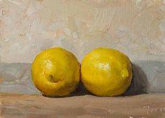 'Two lemons' (2018) by English artist Julian Merrow-Smith. Oil on board, 17 x 13 cm. via the artist's blog