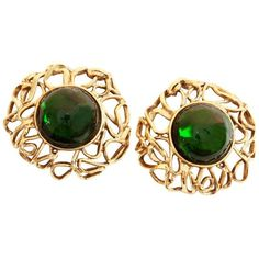 a53ed21609d 70s Yves Saint Laurent Large Earrings 2.5in Emerald Glass Cabochon Goossens  YSL Vintage Rare