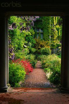 Brick Walkway in Garden - 42-17792596 - Royalty-Free - Stock Photo - Corbis