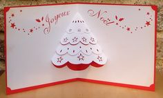 "carte kirigami ""joyeux noël"" : Cartes par cdine08 Kirigami, Kari, Pop Up, Christmas Paper Crafts, Craft Punches, Creations, Scrap, Etsy, Letters"
