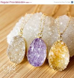 CHRISTMAS SALE Gold Druzy Necklaces  Colourful Druzy by OhKuol