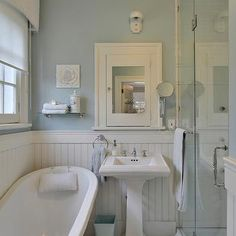 White Beadboard bathroom - Cottage - bathroom - Benjamin Moore Gossamer Blue Love this blue. Maybe for main bath upstairs? Cottage Bathroom Design Ideas, Cottage Style Bathrooms, Eclectic Bathroom, Cottage Design, Bathroom Styling, House Design, Bathroom Ideas, Cozy Bathroom, Bathroom Mirrors