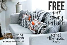 Happy Day 7 of our 12 Days of Christmas freebies! Today's freebie is pillow covers in THREE sizes, plus cut files you can use with your Silhouette/Cricut machines! I LOVE mixing my own pillow covers Sewing Patterns Free, Free Sewing, Free Pattern, Home Design, Design Ideas, Made For Mermaids, Diy Pillow Covers, Pillow Cases, Mermaid Pillow
