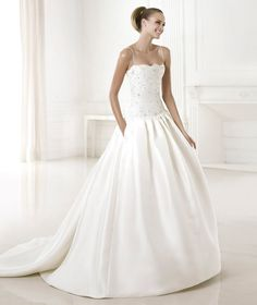Charming Ball Gown Spaghetti Straps Beading&Crystal Detailing Lace Pockets Sweep/Brush Train Satin Wedding Dresses $259.99 Wedding Dresses