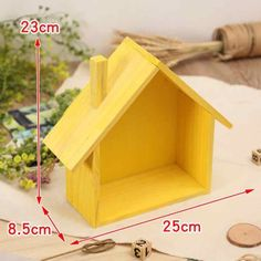 Creative Wooden Wall Decor - House Shelf for Children Bedroom Features: Made of natural wood materials, hard and durable. Perfect for placing bonsai, rahmen, Diy Crafts Hacks, Diy Home Crafts, Craft Stick Crafts, Wooden Wall Decor, Wooden Walls, Wooden House, House Shelves, Bedroom Crafts, Wall Boxes