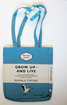 "Penguin ""Grow Up and Live"" Tote Bag"