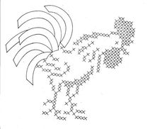 Free Old-Fashioned Embroidery Patterns | Hand Embroidery Pattern Design 615 Roosters for Dish Towels 1950s