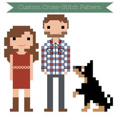 Custom PATTERN Cross Stitch Family Portrait by WildwoodStitchCo