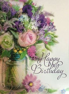 Happy Birthday Flowers Images, Happy Birthday Bouquet, Free Happy Birthday Cards, Birthday Wishes For Her, Birthday Wishes Flowers, Happy Birthday Art, Happy Birthday Wishes Cards, Birthday Wishes And Images, Birthday Greeting Cards