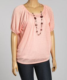 Pink Stripe Scoop Neck Dolman Top - Plus #zulily #zulilyfinds