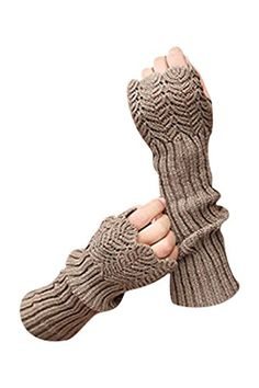 4b02cfbb9ba Novawo Women s Scale Design Winter Warm Knitted Long Arm Warmers Gloves  Mittens (Khaki) Soft and Stylish with thumb holes Keep your arms warm  during cold ...