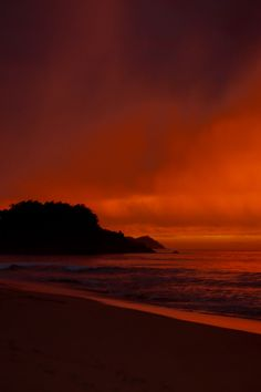 Fiery sunset from a beach in San Pancho, #Mexico #Sunset