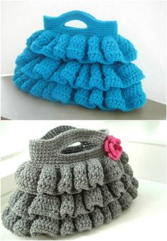 Easy Free Crochet Ruffled Bag Pattern - 101 Free Crochet Patterns For Beginners That Are Super Easy - DIY & Crafts