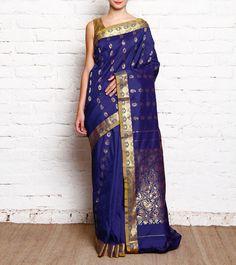 Royal Blue #Kanjivaram #SilkSaree With Zari Work #Indianroots #flipkart