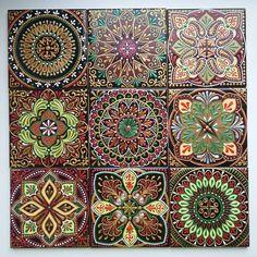 Dot Art Painting, Thread Painting, Decoupage, Mirror Mosaic, Mosaic Tiles, Tile Crafts, Pretty Designs, Wow Art, Boho Diy