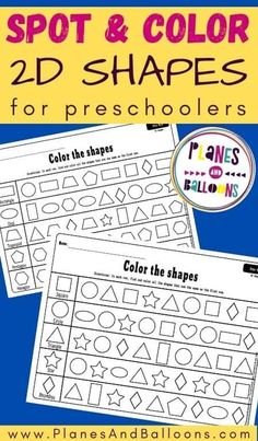 Free printable shapes worksheets for toddlers and preschoolers. They will learn to identify shapes and match shapes that belong together. #preschool #prek #planesandballoons