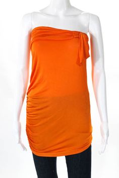 f4e4e9b6 49.99 | VERSUS by Versace Womens Top Size Italian 42 Orange Ruched  Strapless NEW $270 ❤ #versus #versace #womens #italian #orange #ruched  #strapless ...
