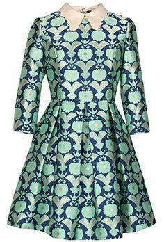 robe évasée motif jacquard et floral  33.06