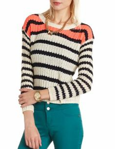 Striped Pullover Crop Sweater